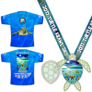 Virtual Strides Partner Virtual Race - Turtle Krawl Sea Turtle Medal & Tech Shirt