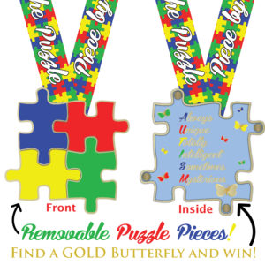 Virtual Strides Virtual Race - Solving The Puzzle Autism Medal