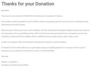 Alzheimer's Foundation of America Virtual Race Donation Receipt