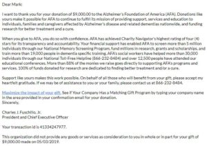 Alzheimer's Foundation of America Virtual Race Donation Letter