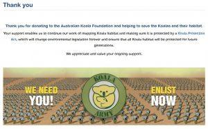 Australian Koala Foundation Donation Receipt