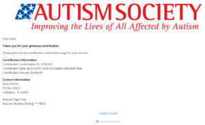 Autism Society Virtual Race Donation