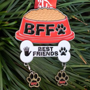 Virtual Strides Virtual Run - Best Furry Friends virtual race dog dish medal with removeable pawprint charms