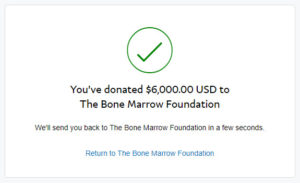 Bone Marrow Foundation Virtual Race Donation