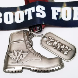 Virtual Strides Partner Virtual Race - Boots for Troops Medal with Dog Tag
