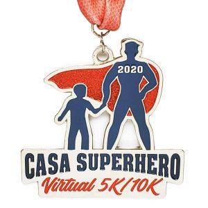 Virtual Strides Partner Virtual Race - CASA Superhero 5k/10k superhero medal