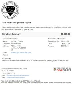 C.O.P.S. Virtual Race Donation Letter