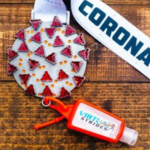 Virtual Strides Virtual Run - Coronavirus Relief virtual race medal and hand sanitizer keychain