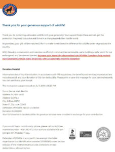 Defenders of Wildlife Virtual Race Donation Receipt