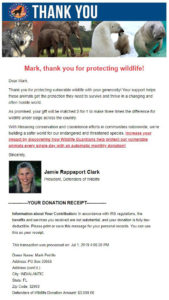 Defenders of Wildlife Virtual Race Donation Letter