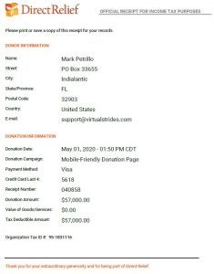 Direct Relief Virtual Race Donation Receipt