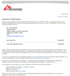 Doctors Without Borders Virtual Race Donation