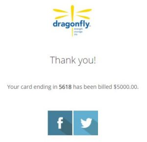 The Dragonfly Foundation Donation Receipt