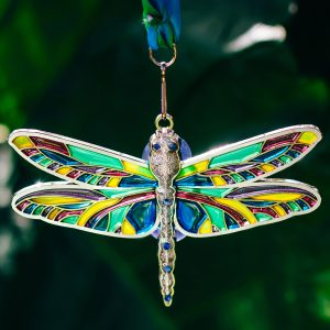 Virtual Strides Virtual Run - Dragonfly stained glass suncatcher medal