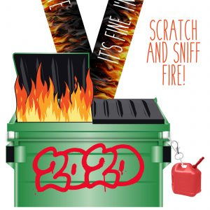 Virtual Strides Virtual Run - Dumpster Fire medal with scented fire sticker