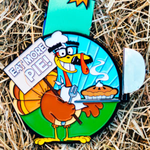 Virtual Strides Partner Virtual Race - Eat More Pie Disguised Turkey Pumpkin Spice Scented Thanksgiving Medal