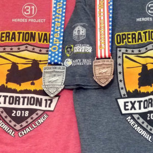 Virtual Strides Partner Virtual Race - Extortion 17 Memorial Run Shirts and Medals
