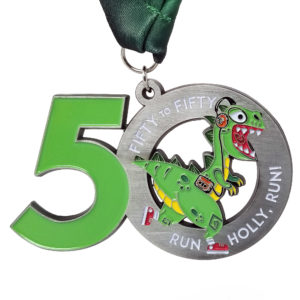 Virtual Strides Partner Virtual Race - Fifty to Fifty Running Dinosaur Medal