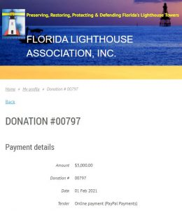 Florida Lighthouse Association Donation