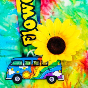 Virtual Strides Virtual Run - Flower Power VW Hippy Bus Woodstock Medal