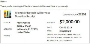 Friends of Nevada Wilderness Virtual Race Donation Receipt