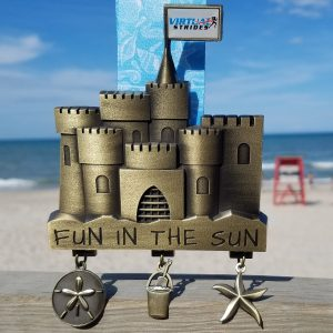 Virtual Strides Virtual Race - Fun in the Sun - Sandcastle Medal with charms