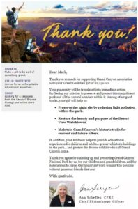 Grand Canyon Conservancy Virtual Race Donation Letter