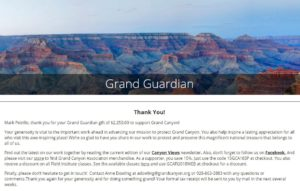 Grand Canyon Conservancy Virtual Race Donation Receipt