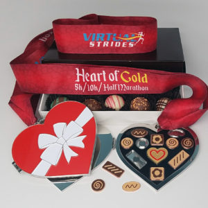 Virtual Strides Virtual Race - Heart of Gold Box of Chocolates Medal with Removable Charms