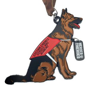 Virtual Strides Partner Virtual Race - Heroes For Heroes German Shephard Service Dog medal