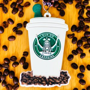 Virtual Strides Virtual Run - I Run On Caffeine To Go coffee cup medal with scratch-n-sniff coffee beans