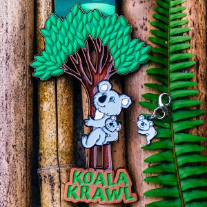 Virtual Strides Virtual Run - Koala Krawl medal with climbing Mama Koala and Baby Koala charm