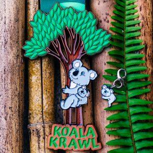Virtual Strides Virtual Run - Koala Krawl medal with climbing Mama Koala and Baby Koala charm