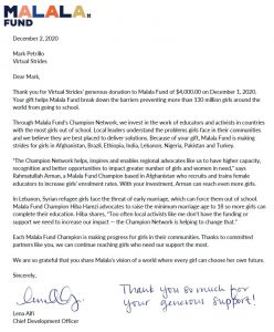 Malala Fund Donation Acknowledgement Letter
