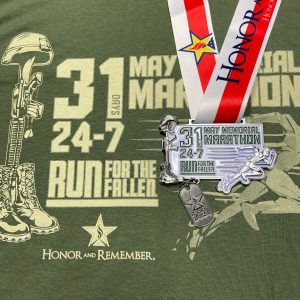 Virtual Strides Partner Virtual Race - May Memorial Marathon Shirt and Medal