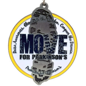 Virtual Strides Partner Virtual Race - Move for Parkinsons Footprint Medal