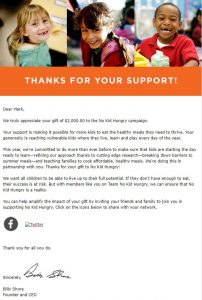 No Kid Hungry Donation Acknowledgement Letter