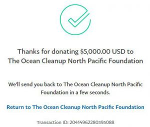 Ocean Cleanup Donation Receipt