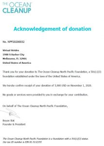 Ocean Cleanup Donation Acknowledgement Letter