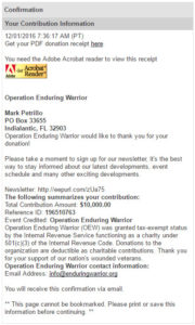 Operation Enduring Warrior Donation