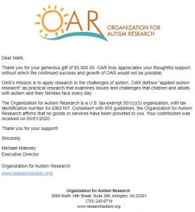 Organization for Autism Research Virtual Race Donation Receipt