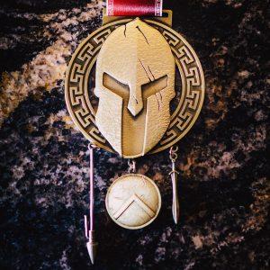Virtual Strides Virtual Run - Prepare For Glory Spartan Helmet Medal with Spear, Shield, and Sword
