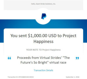 Project Happiness Virtual Race Donation Receipt