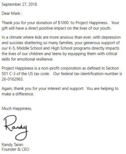 Project Happiness Virtual Race Donation Letter