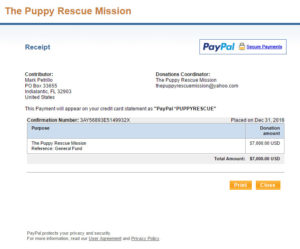 Puppy Rescue Mission Donation