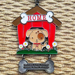 Virtual Strides Virtual Race - Puppy Rescue Mission - Dog House Medal with Dog Tag