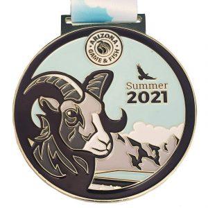 Virtual Strides Partner Virtual Race - Race For Wildlife Summer 2021 Arizona Game and Fish Bighorn Sheep virtual race medal