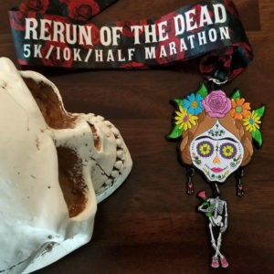 Virtual Strides Virtual Race - ReRun of the Dead - Day of the Dead Skeleton Medal