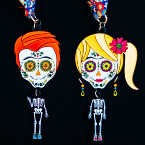Virtual Strides Virtual Race - Return of the Run of the Dead Boy and Girl Sugar Skull Medals