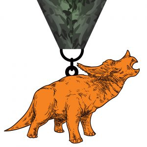 Virtual Strides Partner Virtual Race - Riley's Race to Benefit Nash Alkire Orange Triceratops Dinosaur Medal